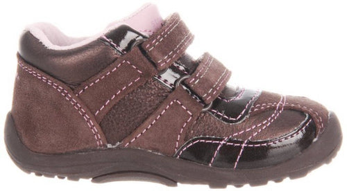 Stride Rite Darling Dora Girls Infant Brown w Pink Flowers Leather Shoes