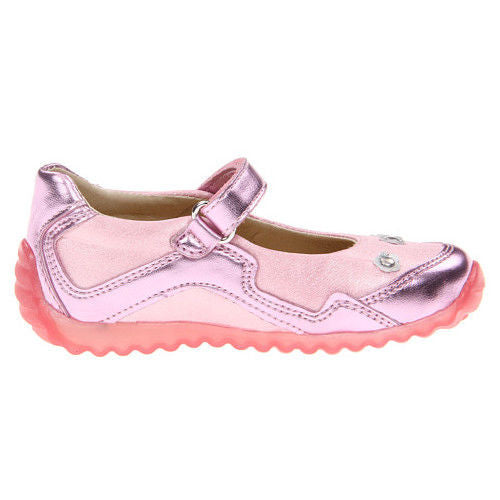 Naturino Flash Pink Leather Studded Mary Jane Shoes