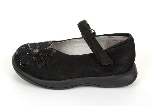 Jumping Jacks Jasmine Girls Black Nubuck Leather Mary Jane Shoes