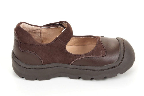 Jumping Jacks Clover Girls Brown Leather Mary Jane Shoes