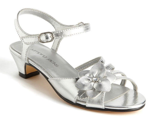 Jumping Jacks Monique Girls Silver Dress Sandals  Size 13.5