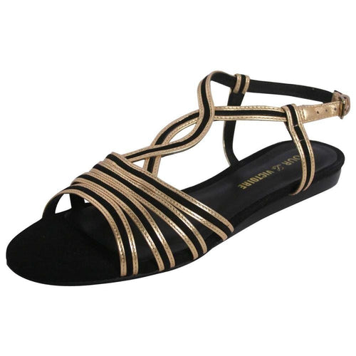 Pour La Victoire Farida Woman's Black & Gold Sandals