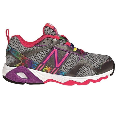 New Balance K635 Girls Grey Pink Leather Running Shoes