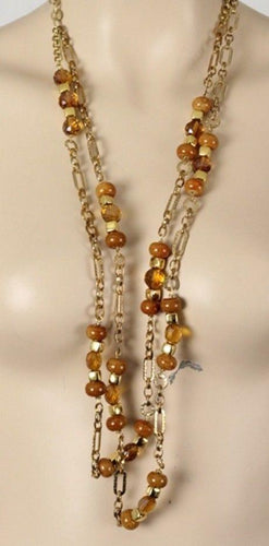 "Gold Colored Wire Accented w Glass Beads  40"" Necklace"