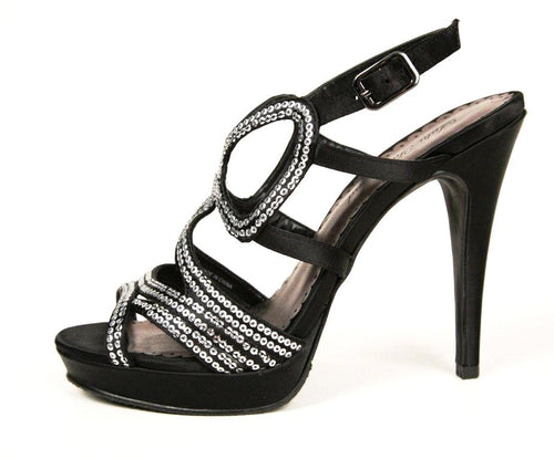 Lulu Townsend Women's Black with Silver Accents Sandals SZ 7.5