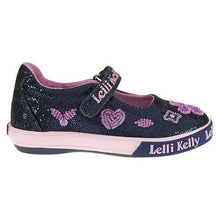 Lelli Kelly Dafne Navy Glitter w Pink Heart Flowers Mary Jane Shoes New with Defect SZ 8