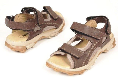 Aster Jackpot Boys Brown Premium Leather Sandals