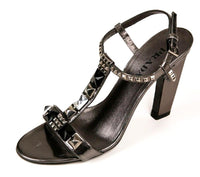 Prada Women's Bronze Leather w Crystal Jeweled T-Strap Sandals SZ 37/6.5