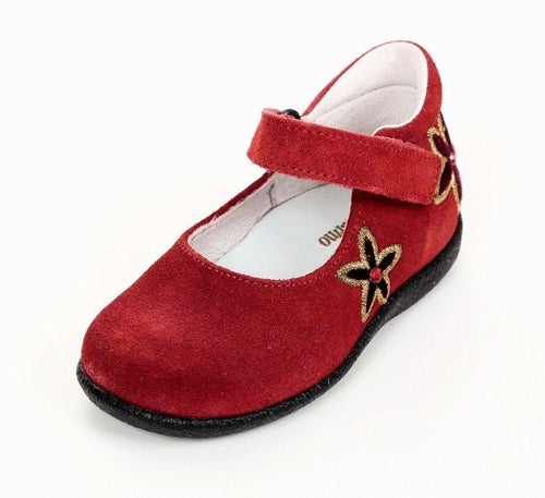 Naturino 2062 Girls Red w Flower Suede Mary Jane Dress Shoes