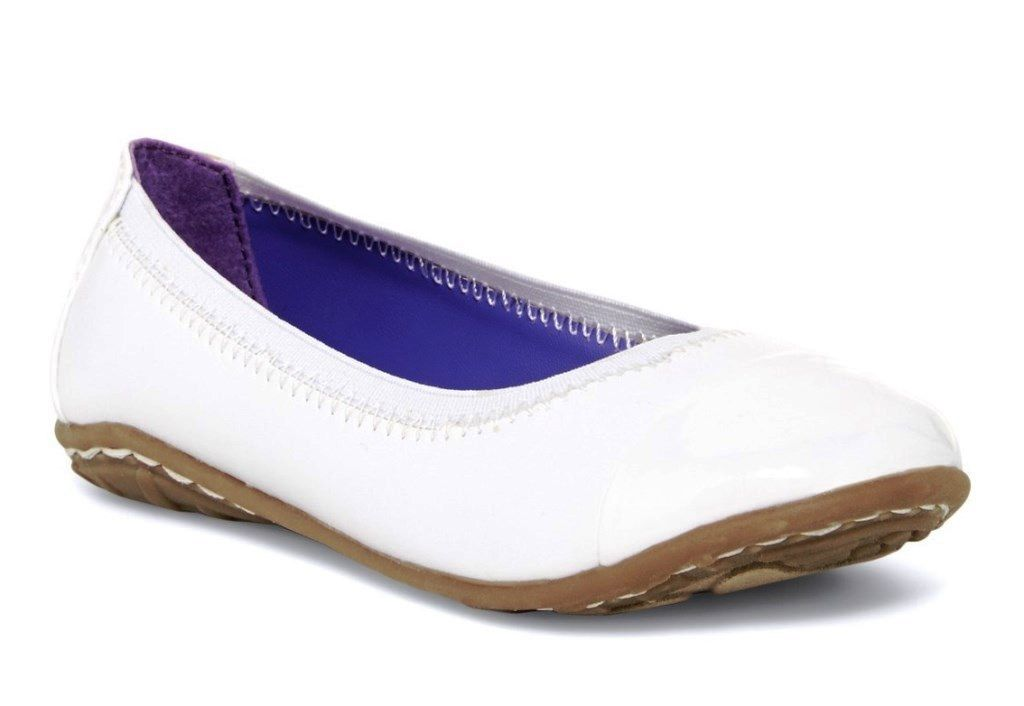 Kenneth Cole Buck N Roll Girls White Patent Leather Flats Shoes