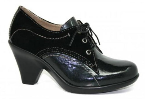 Dromedaris Nori Women's Black Leather Lace Shoes