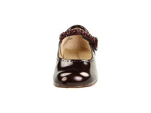 Jumping Jacks Annalise Girls Brown Patent Leather Dress Shoes