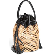 Loeffler Randall Industry Perforated Natural & Black Leather Bucket Bag- Celeb Fav -$700