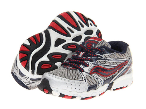 Saucony Cohesion 6 Boys Silver Red Blue Leather Running Shoes