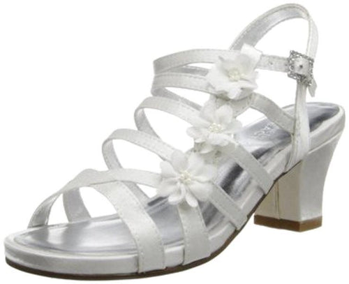Kenneth Cole Chasing Amy White Satin w Flowers Dress Sandals