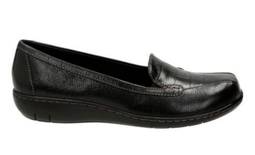 Clarks Bayou Q Womens Leather Croco Loafers Size 7.5 Wide