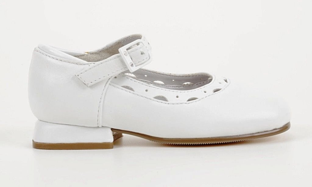 Jumping Jacks Nel Girls White Leather Dress Shoes Size  6 Wide