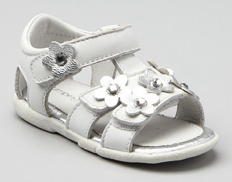 Jumping Jacks Juniper Girls Leather White Sandals Size 5 Wide