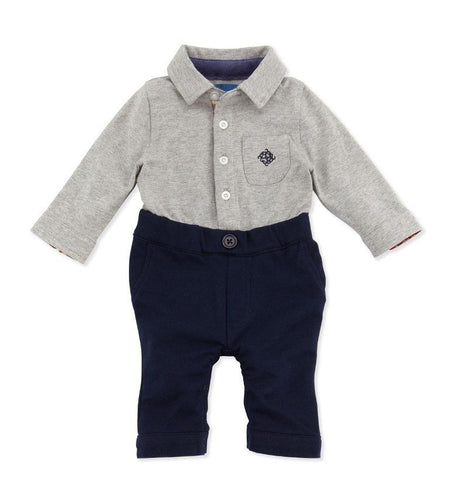Andy & Evan Boys Baby's First Grey & Navy Bodysuit