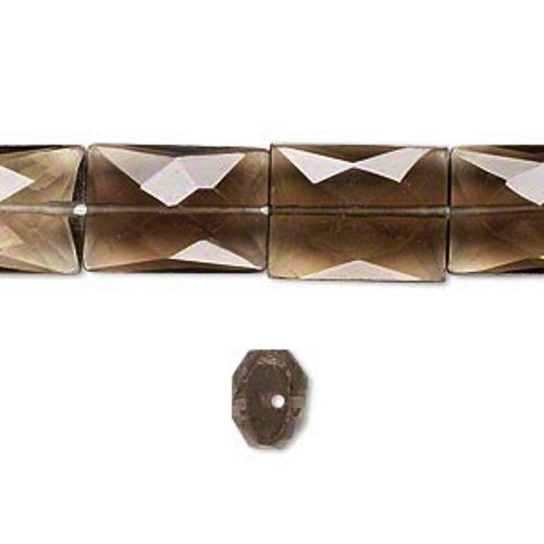 Smoky Quartz  Rectangular Multi Faceted 8x12mm Beads 16