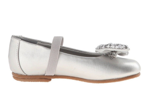 Balleto (by Jumping Jacks) Peek-A-Bow Girls Silver Dress Shoes
