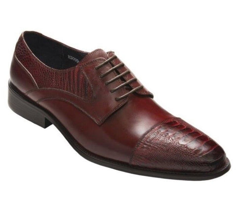 David X Bruner Men's Wine Genuine Ostrich & Leather Shoes Size 13