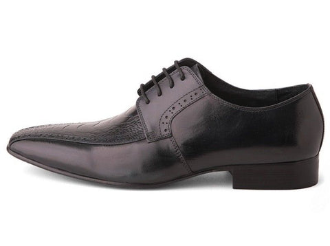 David X Josh Men's Black Ostrich & Calfskin Leather Lace Up Shoes