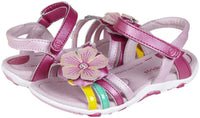 Stride Rite Lucy Girls Leather Pink w Flower Dress Sandals Size 5.5 Wide