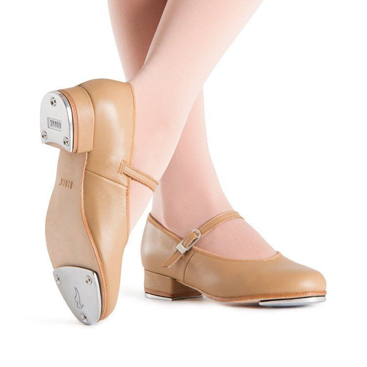 Bloch Tap-On S0302G Girls Tan Leather Buckle Tap Shoes SZ 11.5 (Little Kid)