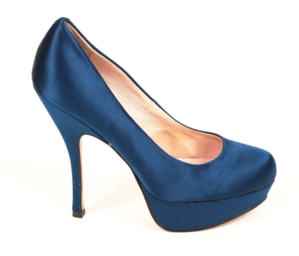 Steve Madden Party Y  Women's Blue Satin Platform Heels SZ 8