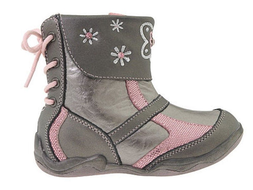 Beeko Cecilia Girls Pink Grey Leather Boots