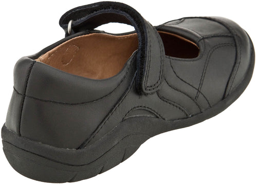 Stride Rite Carla Black Leather Girls School Shoes