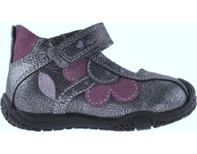 Primigi Valerie Girls Pewter Purple Leather Mary Jane Sneakers