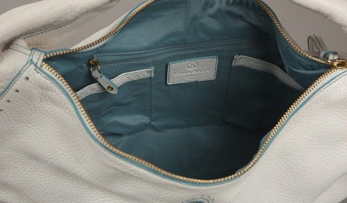 Cole Haan Kayla White Pebbled Leather w Turquoise Embroidered Hobo Handbag