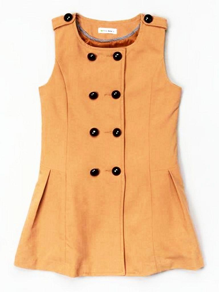 Dino Bebe Girls Tan Double-Breasted Button Jumper