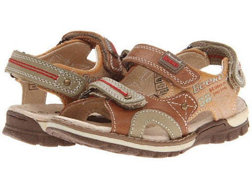 Beeko Hinrik Boys Brown Leather Sandals SZ 8.5