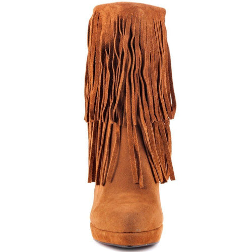 Luichiny Holl Lee Womens Tan Fringe Platform Boots