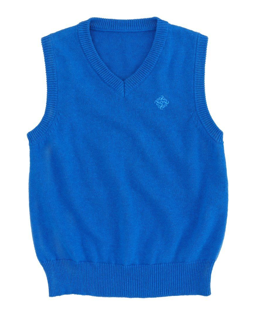 Andy & Evan Boys Blue Cotton Sweater Vest SZ 6 (Toddler)