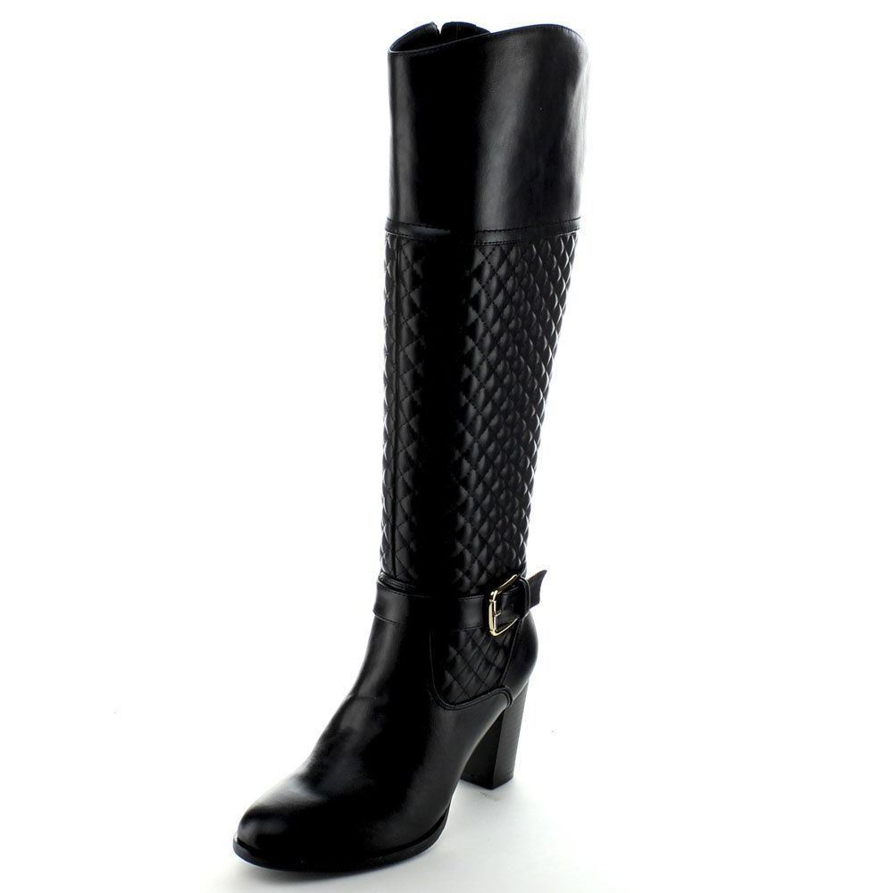 Italina Womens Black Quilted Zip High Chunky Boots SZ 6