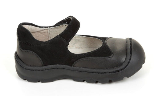 Jumping Jacks Clover Girls Black Leather Mary Jane Shoes Size 6 M
