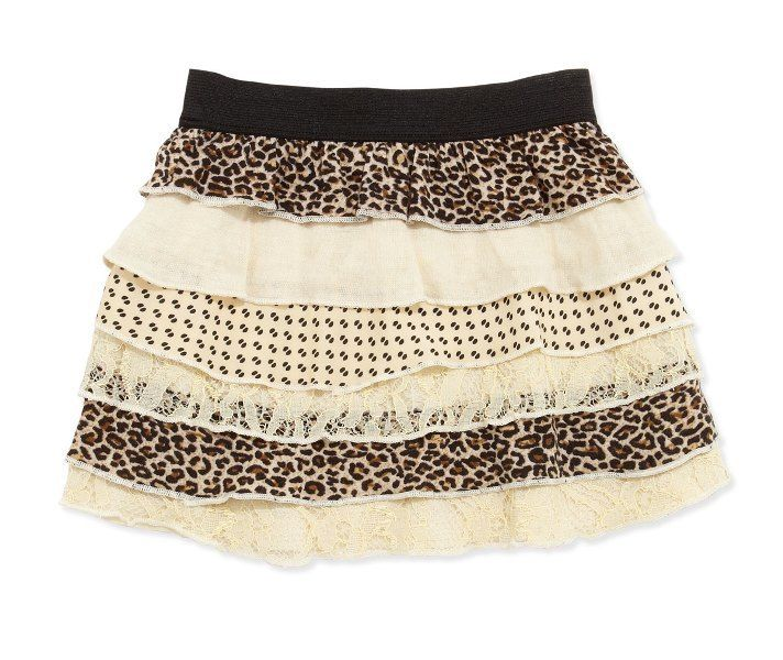Baby Sara Girls Brown Beige Leopard Layered Skirt SZ 5
