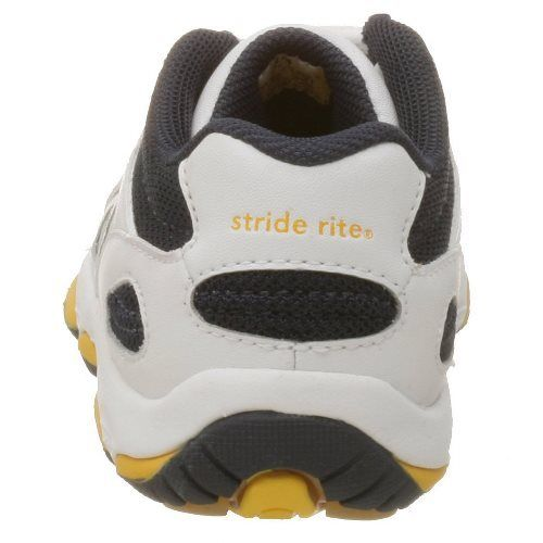 Stride Rite Play Zone Boys Leather White Navy Running Shoes SZ 6 Infant
