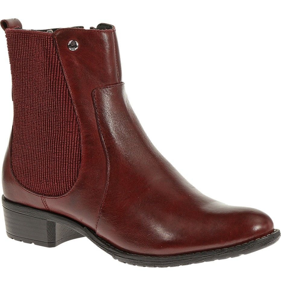 Hush Puppies Lana Chamber Women's Wine Leather Ankle Boots