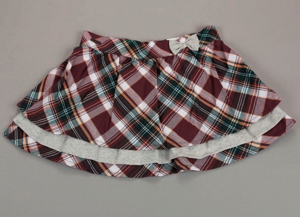 Boboli Girls Plaid Skirt with Bow