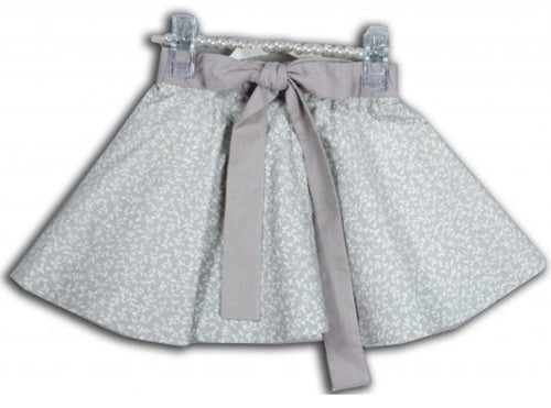 Leopold & Livia Amber Girls Grey w Creme Floral Print Cotton Skirt