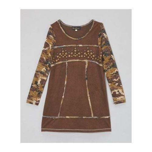 Hannah Banana Girls Camo Brown Faux Suede Studded Brown Dress