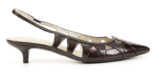 Caressa Periwinkle Women's Black Patent Leather Sandals SZ 8