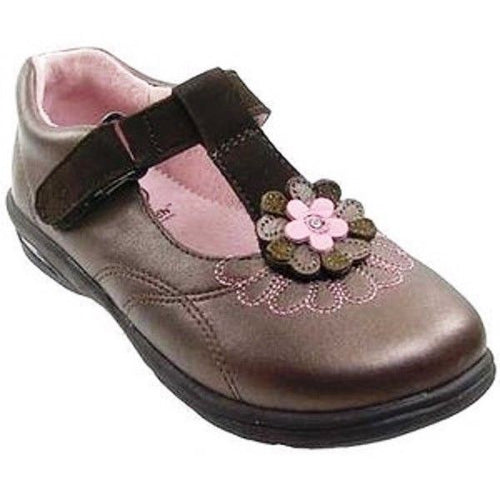 Stride Rite Cassandra Girls Brown w Pink Flower Leather School Dress Shoes