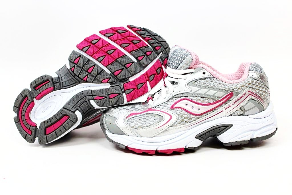 Saucony Cohesion Girls Silver Pink Leather Athletic Shoes Size 12.5 Wide (Little Kid)