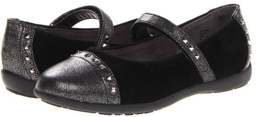 Balleto (by Jumping Jacks) Roxann Girls Black Studded Mary Jane Shoes
